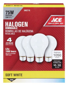 NOS! ACE 4-PACK SOFT WHITE HALOGEN 53W DIMMABLE A19 LIGHT BULBS MEDIUM BASE