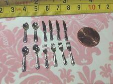 Dollhouse Miniature Silver Brass Tableware Utensils 12pcs Knife/Spoon/Fork S1:12