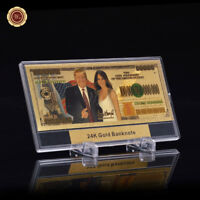 WR Donald Trump $100 Trillion Dollar US 24K GOLD Novelty Banknote Money /w Frame