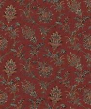 Wallpaper Van Luit Gold Tan Beige & Black Jacobean Floral Vine Toile on Red Faux