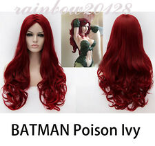 """28"""" Wine Red BATMAN Poison Ivy Wavy Curly Long Anime Cosplay Wig"""