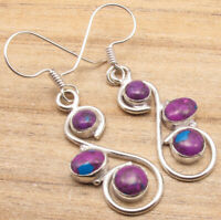 925 Silver Plated PURPLE COPPER TURQUOISE Earrings EXTRA ORDINARY Gift Jewelry