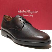 Ferragamo Brown Pebbled Leather Formal Oxford 10.5 D Men's Dress Shoes Casual