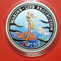 "Palau 5 Dollar 1995 ""Marine Life Protection"" #F3359,Colored ""Seepferdchen"""