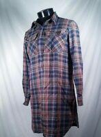 Rare Ralph Lauren Rugby Flannel Shirt Dress 1/2 Zip Long Sleeve Plaid Size XL