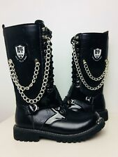 Black Buckle & Chain Women's Boots Size 45 Punk Gothic