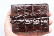 Dark Brown Genuine Alligator ,Crocodile Leather Skin Men's Money Clip Wallet