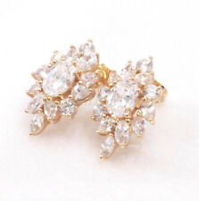 Women's 18K Gold Plated Big Clear Simulated Diamond Wedding Stud Earrings