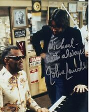 JOHN LANDIS HAND SIGNED 8x10 COLOR PHOTO+COA      WITH RAY CHARLES    TO MICHAEL