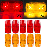 10X Red/Amber 10 Diodes LED Trailer Marker Light Double Bullseye Clearance