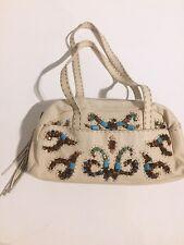 7236bbad8f8f Braccialini White Leather Embellished Shoulder Handbag Fringe Beaded Purse