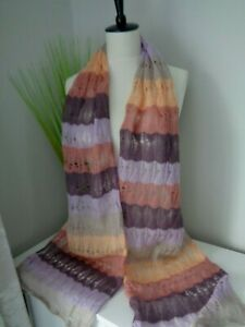 BNWT Missoni Lilac Multi Stripe Knitted Scarf    Made in Italy! SALE