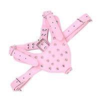 Pink Dog harness Fashion Cute terrier spiked bulldog pu leather large pitbull