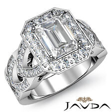 Women's Halo Emerald Diamond Engagement Ring GIA F SI1 14k White Gold 2.27 ct
