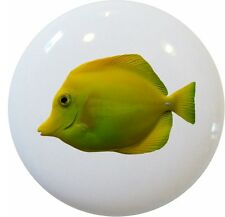 Tropical FISH Yellow TANG Cabinet DRAWER Pull KNOB Ceramic