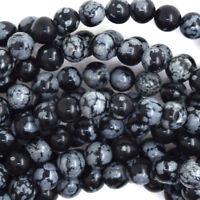 "Black Snowflake Obsidian Round Beads Gemstone 15.5"" Strand 4mm 6mm 8mm 10mm 12mm"