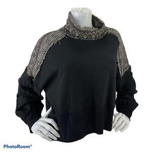 We The Free People Sweater Woman Sz S Crop Balloon Sleeve Boho Thermal Nwot