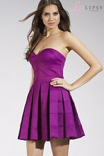 New Lipsy Satin Purple Bandeau Prom Paty Dress UK 14 Pleated Skater Skirt