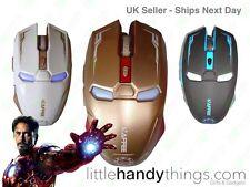 Iron Man Marvel Avengers Wireless Optical Usb Gaming Mouse Gold/black/white