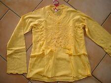 (H345) Nolita Pocket Girls Langarm Shirt in A-Form + Volants & Stickerei gr.140