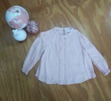 Witchery Girls ruffle front blouse pink size 4  long sleeve winter
