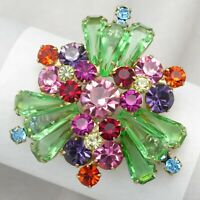 Vintage Juliana D&E Pentagon Stone Rhinestone Art Glass Domed Brooch Pin