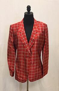 Giorgio Armani Red Gray Checkored Blazer 100% Silk