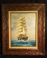 Nautical Oil Painting William Hoffman Sailing Ship Seascape carved frame