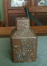 Antique Tea Caddy Square Metal Copper/Bronze Clad - High Relief Chrysanthemums