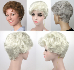 50'S WOMENS LADY SHORT WAVY CURLY TAPERED HAIR WIG GOLDEN GIRLS SOPHIA BRENDA