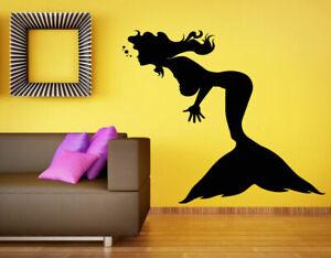 Wall Vinyl Sticker Decals Mural Room Design Art Mermaid Sea Ocean Decor  bo739
