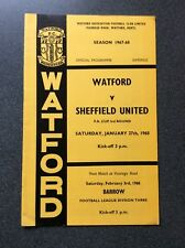 Watford v Sheffield United  programme 1967/68