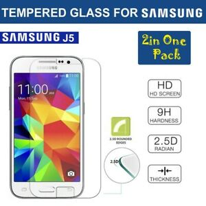 2 in 1 Pack Tempered Glass Screen Protector For Samsung Galaxy J5
