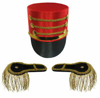 Toy Soldier Drummer Boy Hat Shoulder Epaulettes Gold Fringe Costume Accessory