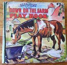 Happi Time Down On The Farm Play Book J S Publishing 1942 Cardboard Animals Rare