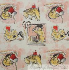 BonEful FABRIC Cotton Quilt VTG Pink Girl Paddington Bear Story Book Block SCRAP