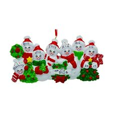 PERSONALIZED Cozy Snowman Family of 7 Christmas Tree Ornament 2019 Holiday Gift
