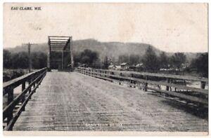 090620 VINTAGE EAU CLAIRE WI POSTCARD SHAWTOWN WOODEN BRIDGE 1908