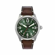 Citizen Eco-Drive Men's BM6838-09X Chandler Military Leather Green Dial Watch