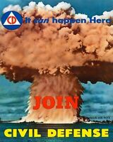 Vintage Nuclear Bomb Civil Defense PHOTO Recruiting Poster, Atomic Blast Fallout