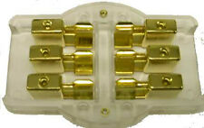 Gold Plated AGU Glass Fuse Block - 3 Position (3) 8 GA in, (3) 8 Ga out