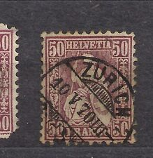Switzerland stamps 1867 50c x 2 used cat $80 each