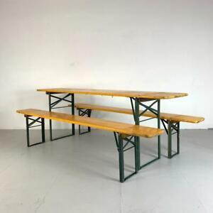 VINTAGE INDUSTRIAL GERMAN BEER TABLE BENCH SET GARDEN FURNITURE LIGHT ORANGE