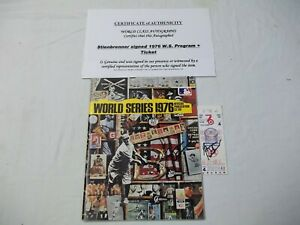George Steinbrenner  Signed 1976 World Series Program & Signed Ticket With COA