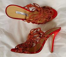 New OSCAR de la RENTA Red Gold Satin Lacey Slides Heels Shoes 39 Sandals