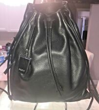 DKNY Donna Karan Soft Leather Drawstring Backpack Black with Dust Bag Unisex