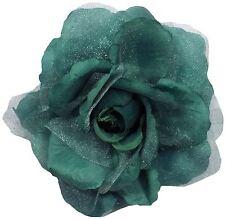 """2x Verde Azulado Rosa Seda Grande 6"""" -15cm Clip Cortina Gasa Tieback"""