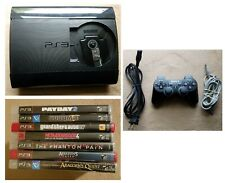 GAMES BUNDLE Sony PlayStation 3 Super Slim 250GB Black PS3 Console Controller