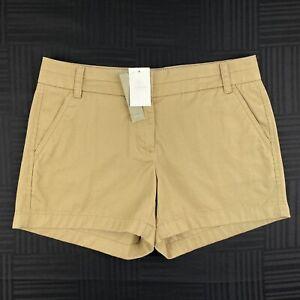 J. CREW Womens Size 4 Beige Khaki 100% Cotton Flat Front Chino Shorts