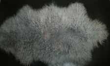 100cm One Pelt Real Mongolian Fur Rug Bedroom Gray fur Curly fur rug Carpet US